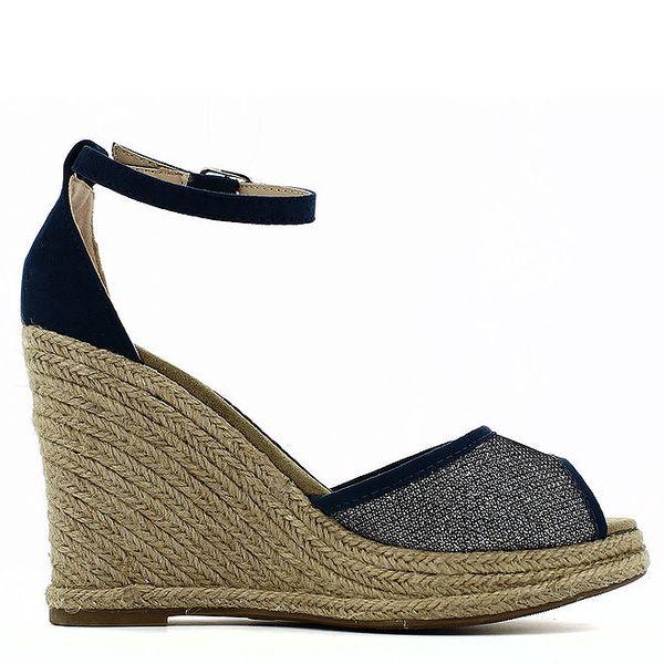 Dámské tmavomodré sandálky na slaměném klínku Shoes and the City