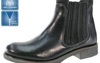 Pánské černé kotníčkové kožené boty Beppi se zipem
