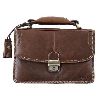 Pánská hnědá kožená taška s poutkem Mercucio
