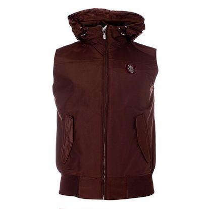 Pánská hnědá vesta Refrigue s kapucí