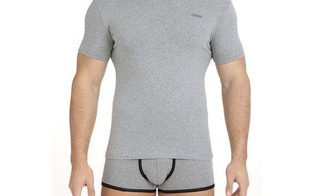 Pánské šedé tričko s véčkovým výstřihem QBO