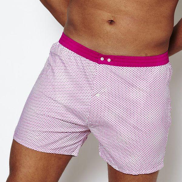 Pánské bílé trenýrky s růžovými tečkami Color Code