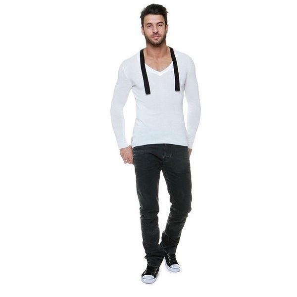 Pánský krémově bílý svetr s kašmírem a černými lemy Pierre Balmain
