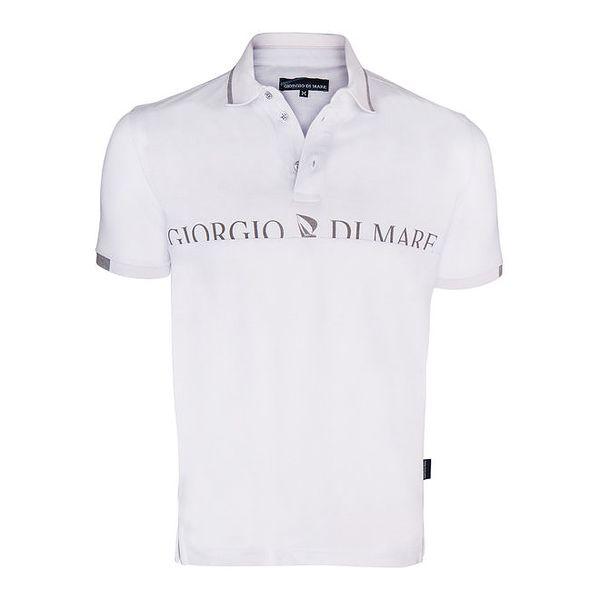 Pánské bílé polo triko s nápisem na hrudi Giorgio di Mare