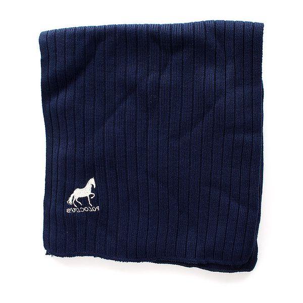 Pánská tmavě modrá žebrovaná šála Polo Club
