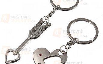 Klíčenka ve tvaru srdce a šípu - 2 kusy a poštovné ZDARMA s dodáním do 3 dnů! - 20611370