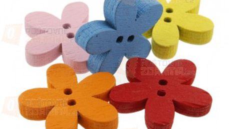 Květované barevné dřevěné knoflíčky - balení 100 ks a poštovné ZDARMA s dodáním do 3 dnů! - 25111521
