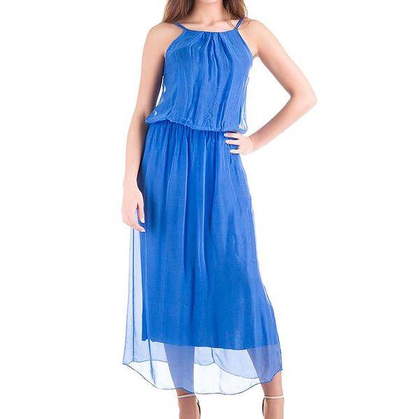 Dámské modré hedvábné šaty Keysha