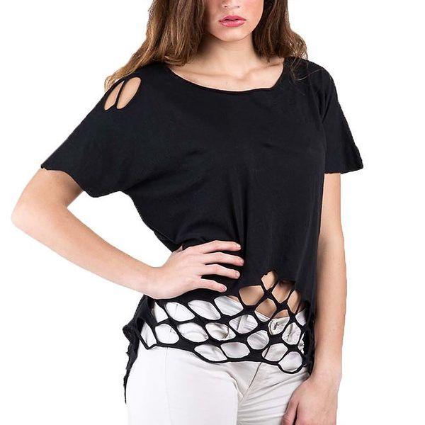 Dámské černé tričko s průstřihy Keysha