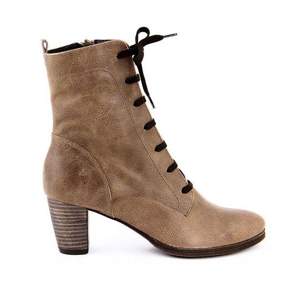 Dámské hnědé boty se šněrováním i zipem Eye