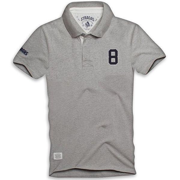 Pánské šedé polo tričko s výšivkou na zádech Paul Stragas