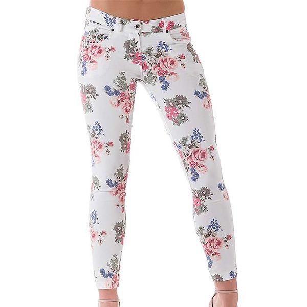 Dámské bílé květované kalhoty Keysha