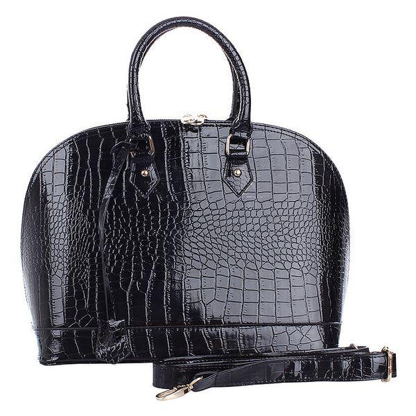 Dámská oblá lesklá černá hadí kabelka s odnímatelným popruhem London Fashion