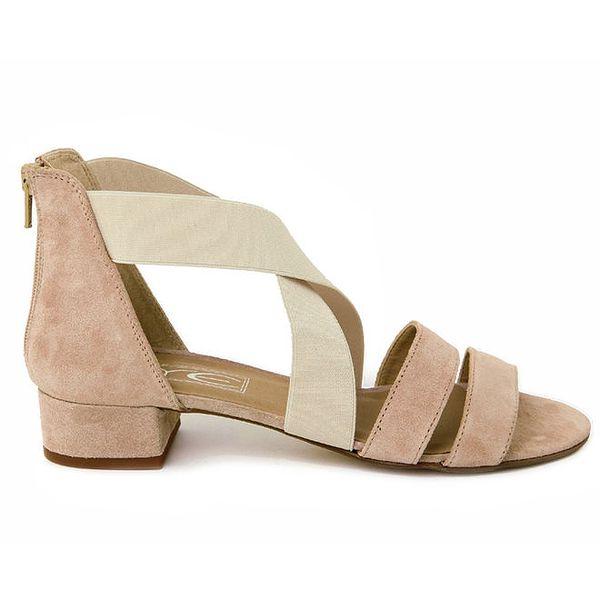 Dámské béžové semišové sandálky se světlými pásky Eye