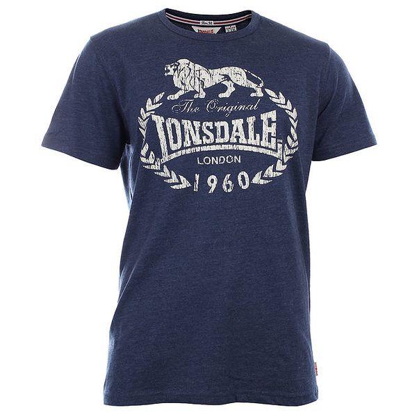 Pánské tmavě modré slim fit tričko s potiskem Lonsdale