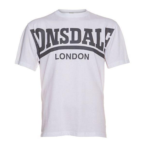 Pánské bílé tričko Lonsdale s šedým potiskem