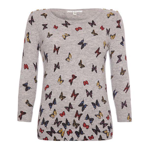 Dámský šedý svetřík s motýlky Uttam Boutique