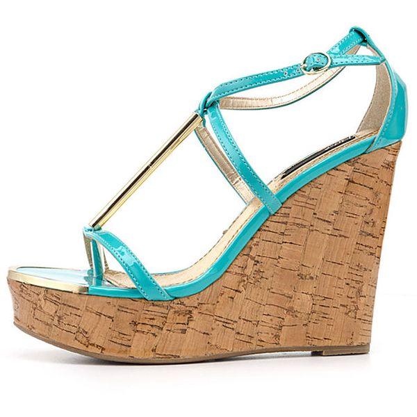 Dámské tyrkysové sandálky na vysokém klínu Blink