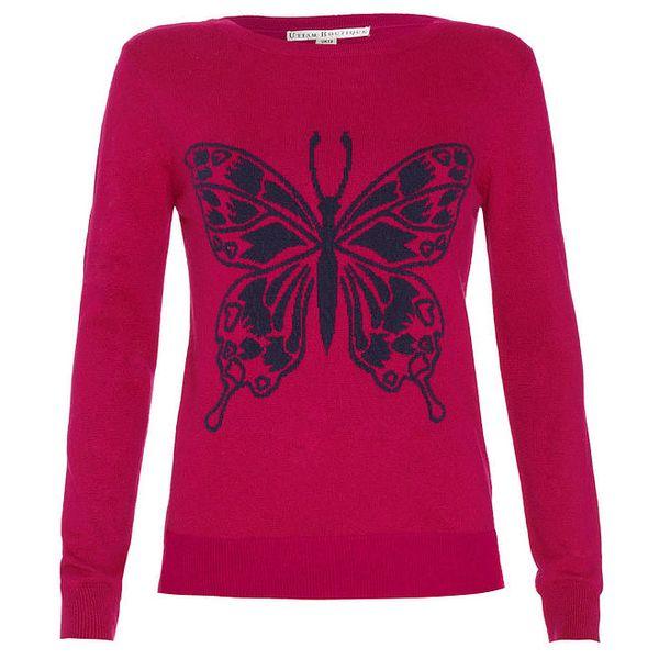 Dámský malinový svetřík s motýlkem Uttam Boutique