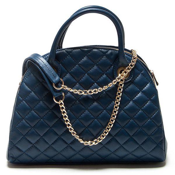 Dámská modrá oblá prošívaná kabelka Mangotti