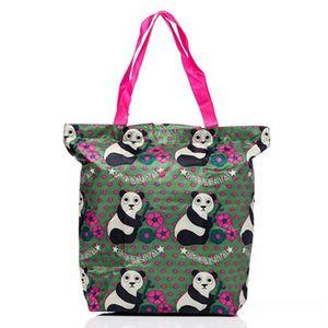 Dámské zeleno-růžová nákupní taška s medvídky Rosalita McGee