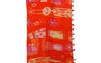 Dámský červený vzorovaný šál Rosalita McGee