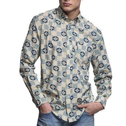 Pánská modro-bílá vzorovaná košile s dlouhým rukávem Yhoss