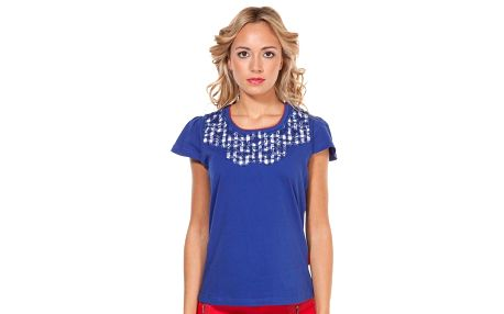Dámské modré tričko s károvanou nášivkou na hrudi Rosalita McGee