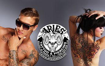 Ozdobte své tělo TETOVÁNÍM ve vyhlášeném tetovacím salónu Aries na Praze 1! TETOVÁNÍ o velikosti 9 x 9cm za 1049 Kč dle Vašeho návrhu či fantazie tatéra! Sleva 52%!
