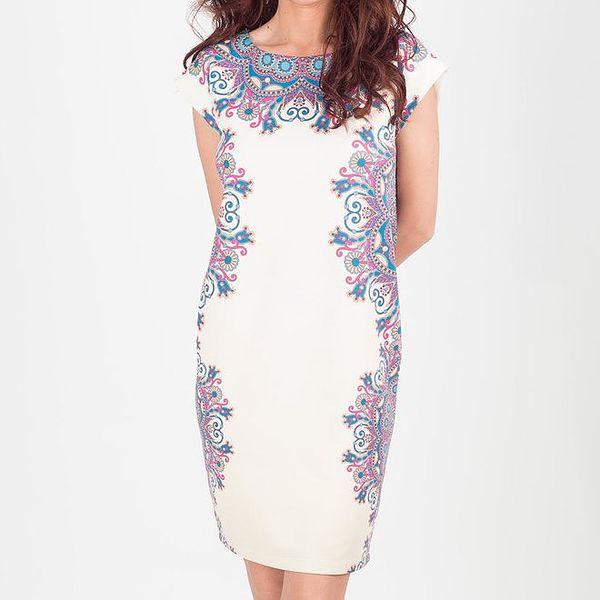 Dámské smetanové šaty s květinovým vzorem Chaser