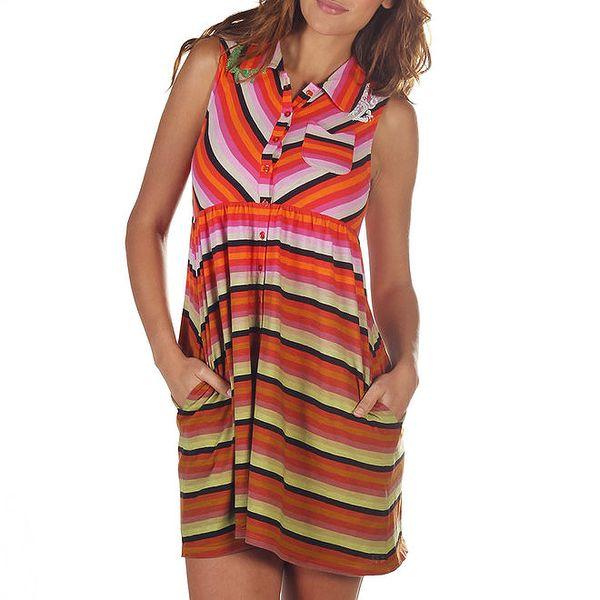 Dámské barevné pruhované šaty s kapsami Custo Barcelona