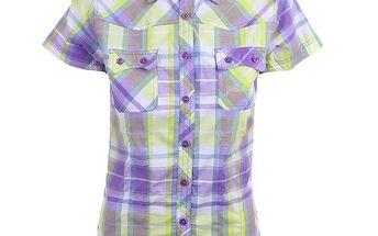 Dámská fialovo-žlutě kostkovaná košile s krátkým rukávem Authority