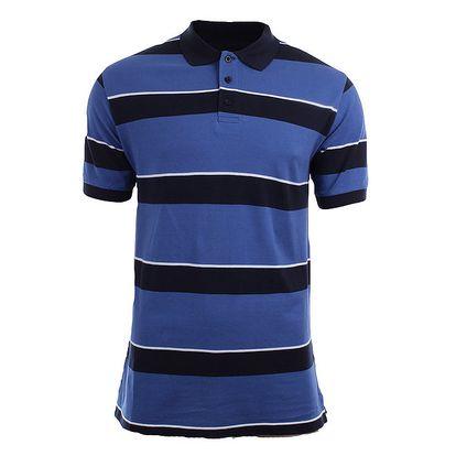 Pánské modro-černé pruhované polo tričko Authority