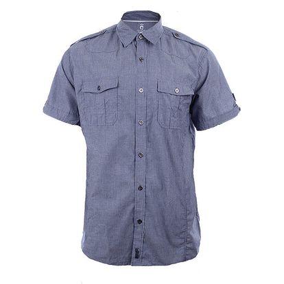 Pánská modře proužkovaná košile s krátkým rukávem Authority