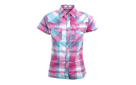 Dámská růžovo-tyrkysově kostkovaná košile s krátkým rukávem Authority
