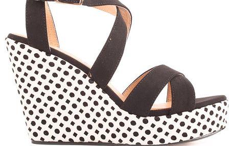 Dámské černé sandálky na vzorované platformě Elle