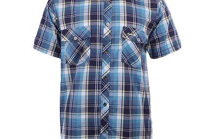 Pánská modře kostkovaná košile s krátkým rukávem Authority