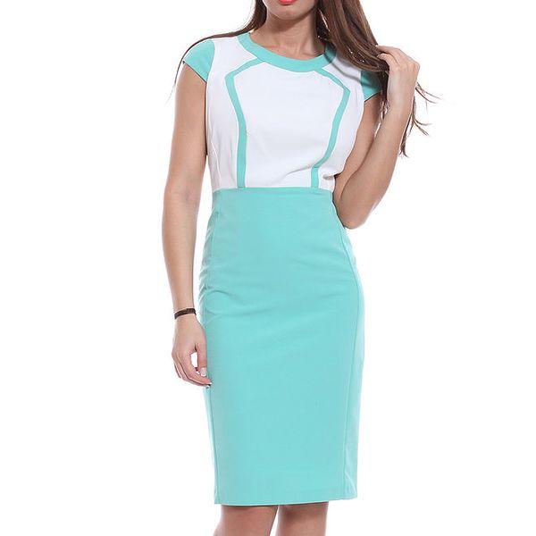 Dámské modro-bílé pouzdrové šaty Melli London
