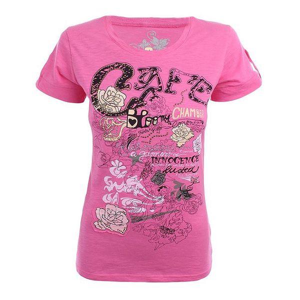 Dámské růžové tričko s potiskem Authority