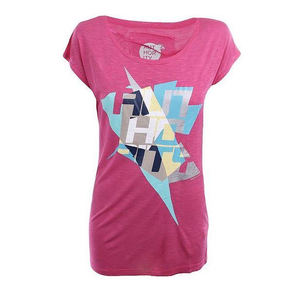 Dámské růžové tričko s barevným potiskem Authority