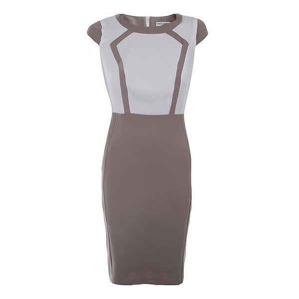 Dámské béžovo-bílé šaty Melli London
