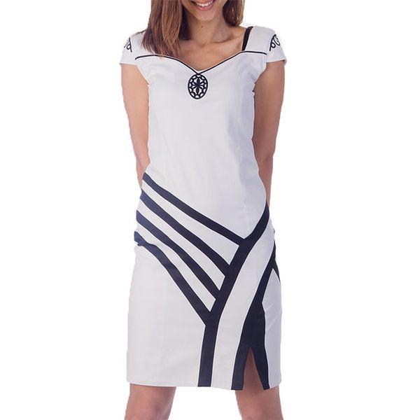 Dámské krémově bílé šaty s proužky Nelita
