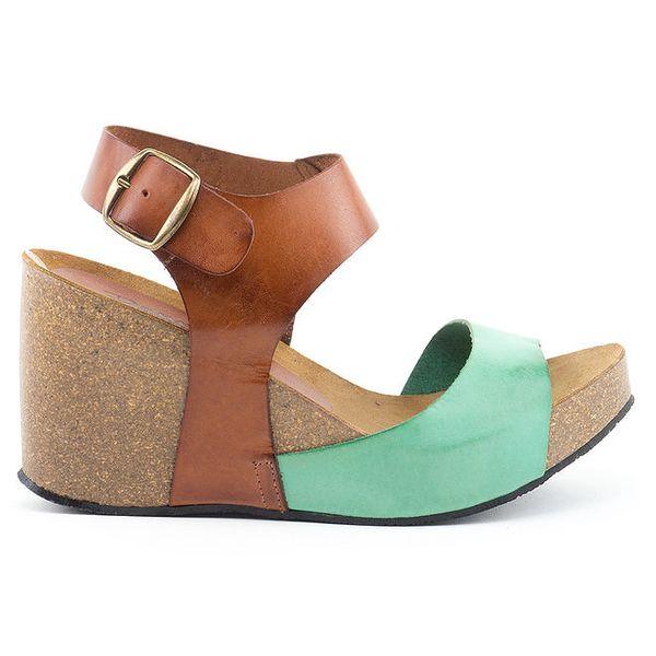 Dámské kožené sandály na klínu se zeleným páskem Daneris