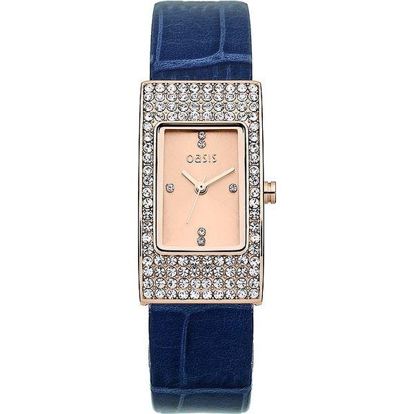 Dámské obdélníkové hodinky s modrým páskem Oasis