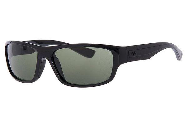 Pánské černé sluneční brýle s reliéfním pruhem na stranicích Ray-Ban