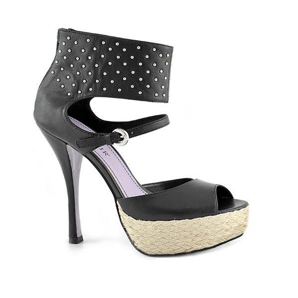 Dámské černé boty na podpatku a platformě Café Noir