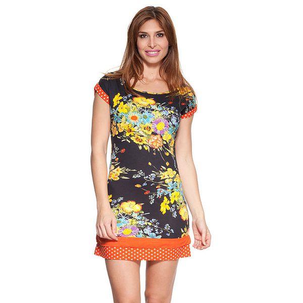 Dámské květované šaty s puntíkovanými lemy Janis