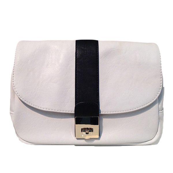 Dámská bílá kabelka s černým pruhem The Style London