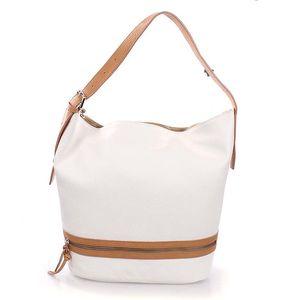 Dámská bílá kožená kabelka s béžovými lemy Puntotres