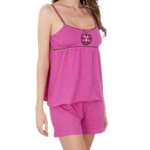 Dámské růžové puntíkované pyžamo Admas - šortky a tílko